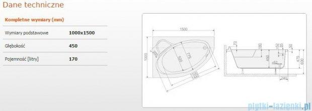 Sanplast Comfort Wanna asymetryczna lewa+stelaż WAL/CO 150x100+ST5 610-060-0240-01-000