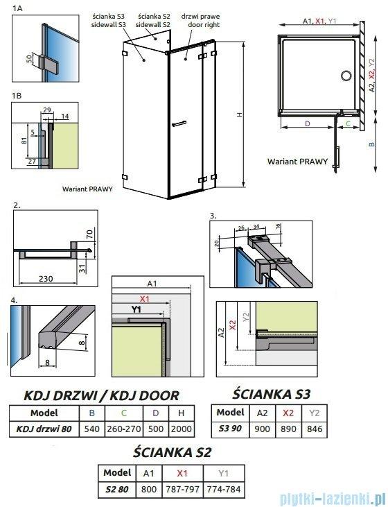Radaway Euphoria KDJ P Kabina przyścienna 80x90x80 prawa szkło przejrzyste 383043-01R/383031-01/383035-01