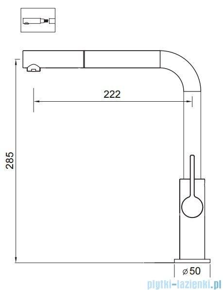Art Platino Viola bateria kuchenna z wyciąganą wylewką chrom/czarny 5901730613094
