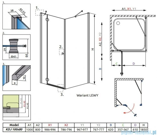 Radaway Torrenta Kdj kabina 100x80 lewa szkło carre + Brodzik Doros D + syfon 32242-01-10NL