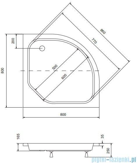 Sea Horse Sigma zestaw kabina natryskowa półokrągła niska 80x80cm brąz+brodzik BKZ1/3/KB