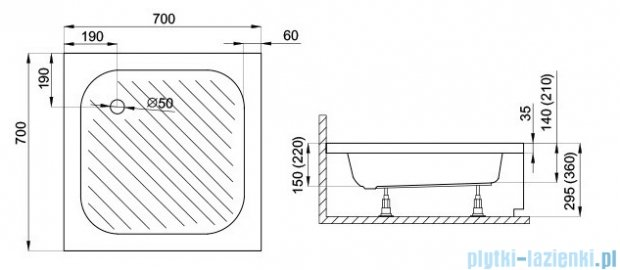 Polimat Karen brodzik kwadratowy ze stelażem 70x70x22 00209