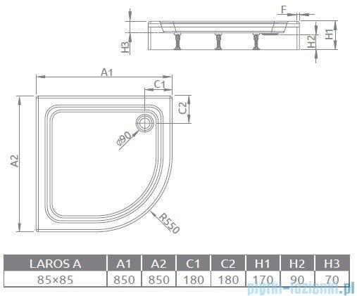 Radaway Laros A Brodzik półokrągły 85x85x17cm SLA8585-01