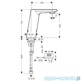 Hansgrohe Metris S Samoczynna bateria umywalkowa na podczerwień Electronic-230V 31103000