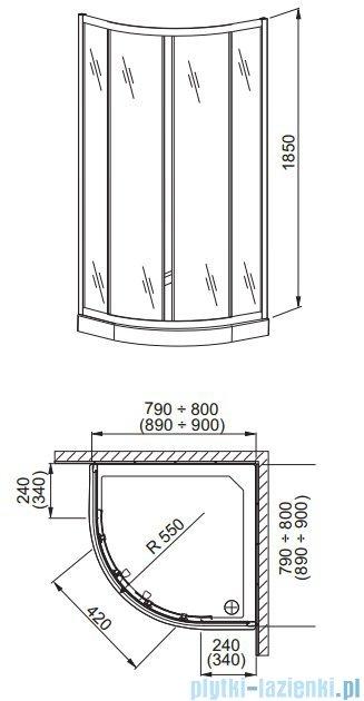 Aquaform Lazuro kabina prysznicowa półokrągła 90cm szkło przejrzyste profil chrom 06565