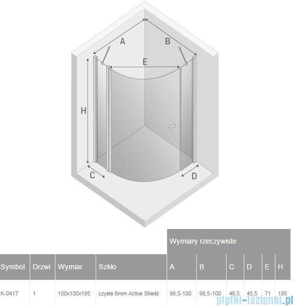 New Trendy New Soleo kabina półokrągła R55 100x100x195cm przejrzyste K-0417