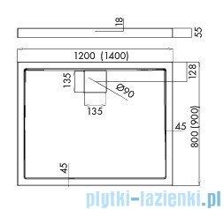 Schedpol Omega brodzik prostokątny z klapką odpływu 140x90x5,5cm 3.0456