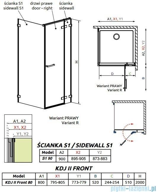 Radaway Arta Kdj II kabina 80x90cm prawa szkło przejrzyste 386420-03-01R/386040-03-01R/386021-03-01
