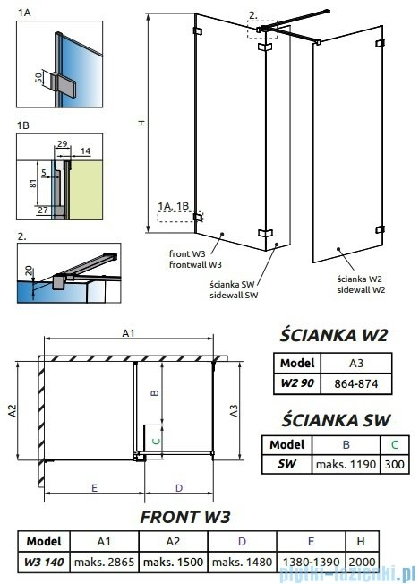 Radaway Euphoria Walk-in III kabina 140x90cm szkło przejrzyste 383136-01-01/383121-01-01/383160-01-01
