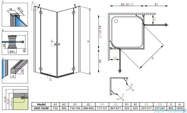 Radaway Torrenta Kdd Kabina prysznicowa 75x90 szkło grafitowe 32282-01-05NL
