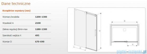 Sanplast drzwi przesuwne D2/ALTIIa-120-130 120-130x210 cm przejrzyste 600-121-1521-42-401