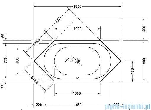 Duravit D-Code wanna sześciokątna 190x90cm do zabudowy 700138 00 0 00 0000