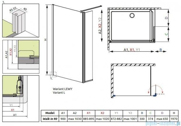 Radaway Eos II Walk-in kabina prysznicowa 90 lewa szkło przejrzyste 3799501-01L