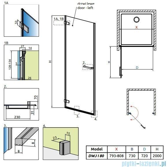 Radaway Arta Dwj I drzwi wnękowe 80cm lewe szkło przejrzyste 386071-03-01L