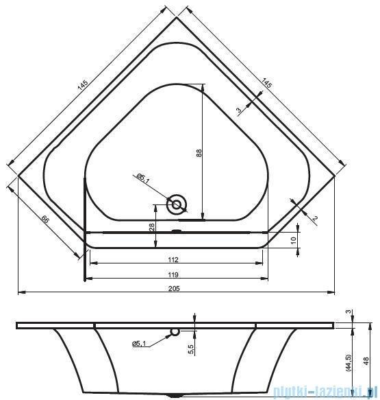 Riho Austin wanna symetryczna 145x145cm nóżki+syfon BA11/07/AMC55