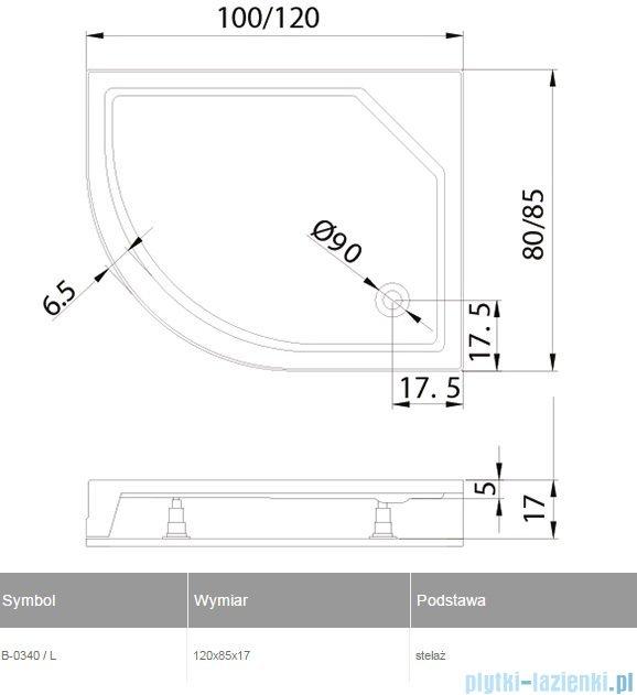 New Trendy New Maxima brodzik asymetryczny 120x85x17cm lewy B-0340/L