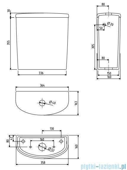 Koło Nova Pro Spłuczka owalna z armaturą 6/3l M34010