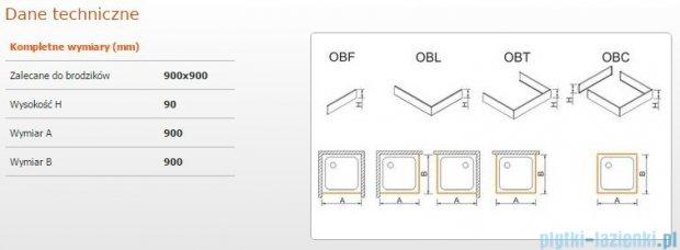 Sanplast Obudowa brodzika OBL 90x90x9 cm 625-400-1030-01-000