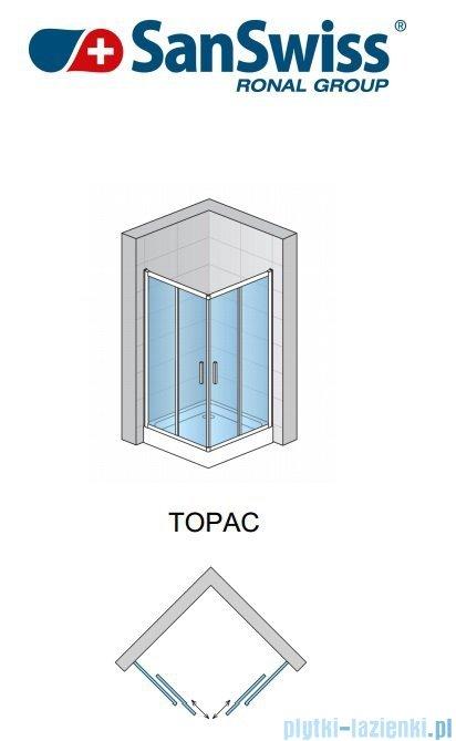 SanSwiss Top-Line TOPAC Wejście narożne 75cm profil biały Prawe TOPD07500407