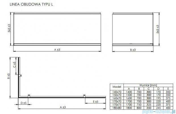 Roca Linea obudowa typu L do wanny 170x75cm lewa A25T018000