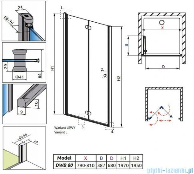 Radaway Eos DWB Drzwi wnękowe 80 lewe szkło przejrzyste + brodzik Delos C + syfon 37813-01-01NL