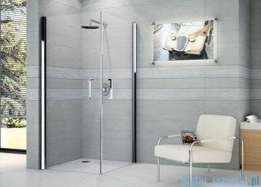 Novellini Ścianka prysznicowa GIADA 2G 87 cm lewa szkło przejrzyste profil srebrny GIADN2G87LS-1B