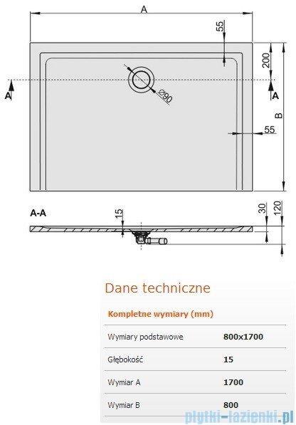 Sanplast Brodzik prostokątny Space Mineral 170x80x1,5cm + syfon 645-290-0400-01-000