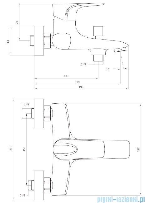 Deante Gardenia bateria wannowa bez kompletu natryskowego chrom BEG 010M