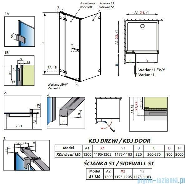 Radaway Euphoria KDJ Kabina prysznicowa 120x120 lewa szkło przejrzyste 383042-01L/383054-01