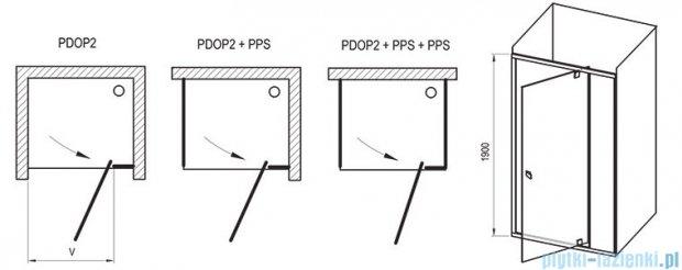 Ravak Drzwi prysznicowe obrotowe Pivot PDOP2-100 białe + chrom transparent 03GA0100Z1