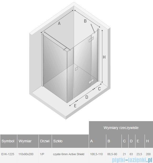New Trendy Reflexa Plus 110x90x200 cm kabina prostokątna prawa przejrzyste EXK-1225