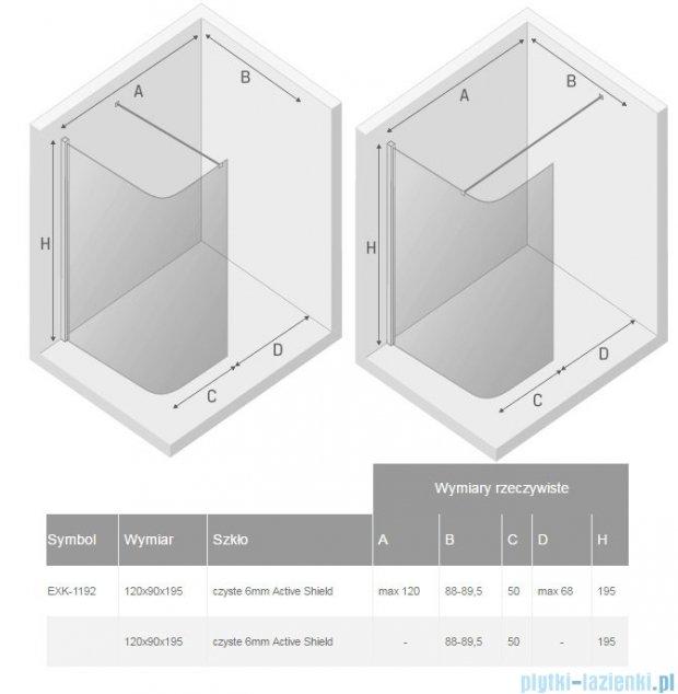 New Trendy Arena kabina walk in 120x90cm przejrzyste EXK-1192