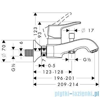 Hansgrohe Metris Classic Jednouchwytowa bateria wannowa DN15 31478000