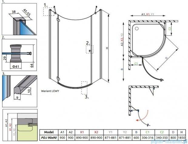 Radaway Torrenta PDJ kabina półokrągła 90x90 lewa szkło przejrzyste + Brodzik Delos A + Syfon 31700-01-01N
