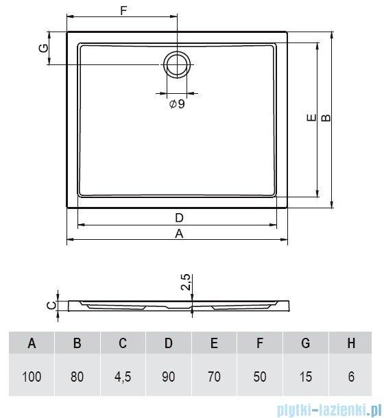 Riho Zurich brodzik prostokątny płaski 272 100x80x4,5 DA72
