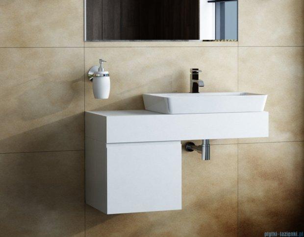 Antado Combi szafka z blatem prawym i umywalką Conti biały/jasne drewno ALT-140/45GT-WS/dn+ALT-B/4R-1000x450x150-WS+UCT-TP-37x59