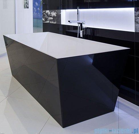 Omnires London wanna 159x65cm wolnostojąca biało-czarny połysk MARBLE+LONDON159CP