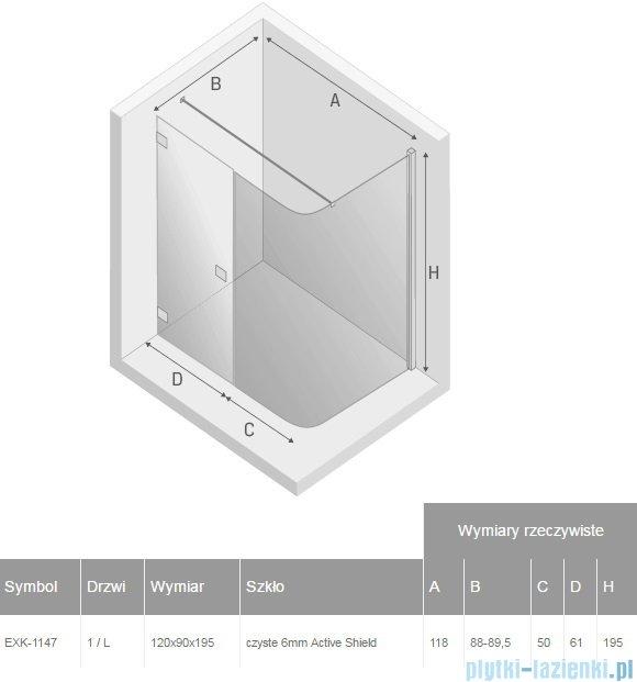 New Trendy kabina prysznicowa asymetryczna Arena 120x90cm lewa przejrzyste EXK-1147