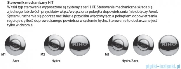 Riho Carolina wanna prostokątna 170x80 z hydromasażem Hit Hydro 6+4+2/Aero11 BB53H3