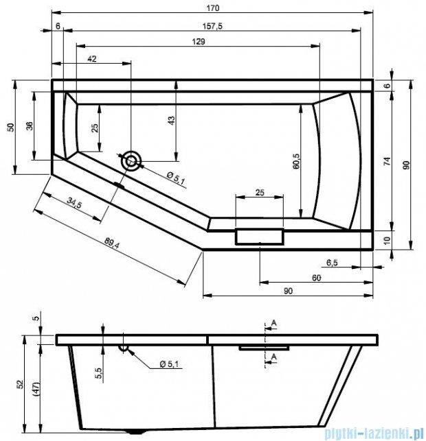 Riho Geta wanna asymetryczna 170x90cm lewa z hydromasażem HIT Hydro 6+4+2 BA89H2