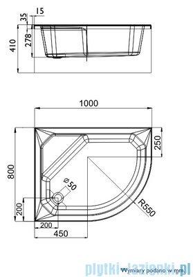 Schedpol Brodzik asymetryczny Delos lewy 80x100x41cm 3.078