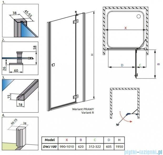 Radaway Almatea DWJ Drzwi wnękowe 100 Prawe szkło grafitowe + Brodzik Delos C 100 + syfon 31302-01-05N