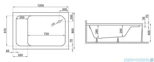 Polimat Roni brodzik akrylowy prostokątny z siedziskiem 120x80x40 biały 00683