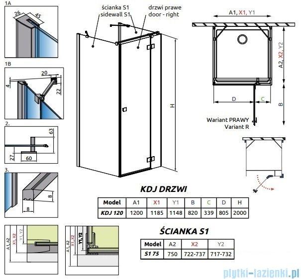 Radaway Essenza New Kdj+S kabina 75x120x75cm prawa szkło przejrzyste 385024-01-01R/384049-01-01/384049-01-01