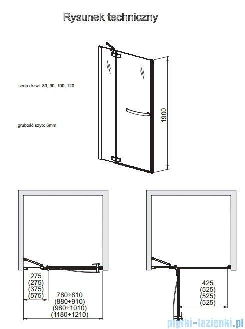 Aquaform HD Collection drzwi uchylne do wnęki lewe 120cm przejrzyste 103-09395