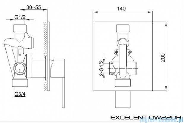 Kohlman Excelent podtynkowa bateria prysznicowa QW220H