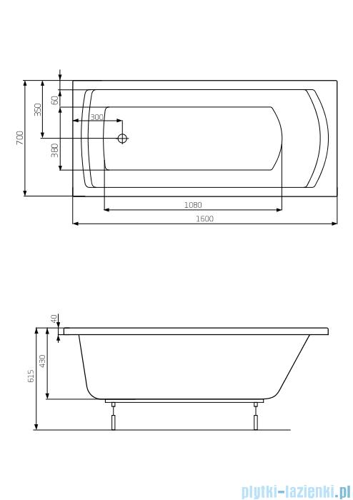 Roca Linea wanna prostokątna 160x70 cm akrylowa A24T018000