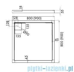 Schedpol Omega brodzik kwadratowy z klapką odpływu 90x90x5,5cm 3.0452