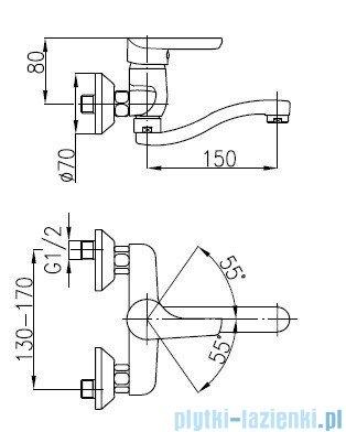 KFA OBSYDIAN Bateria umywalkowa ścienna 5100-810-00