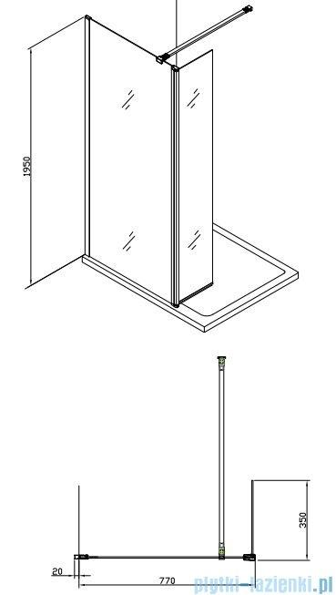 Alterna kabina typu walk-in 80x200 cm przejrzysta ALTN-195219